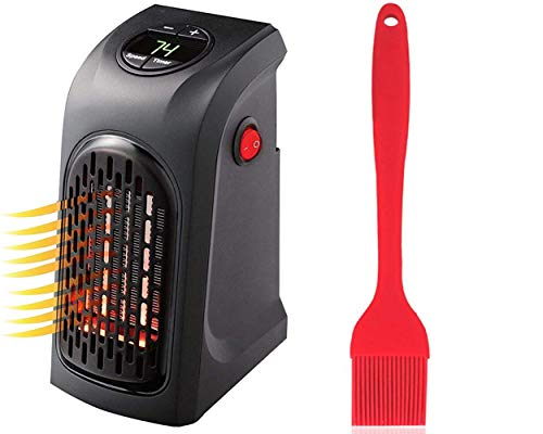 ZUNBELLA combo of Mini Heater Compact Plug-In Portable Digital Electric Heater and Silicone Red Oil Brush for Basting Heat Resistant Non-Sticky Grilling and Baking Barbecue Brush