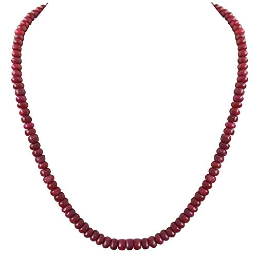 SURATDIAMOND Single Line Real Ruby Beads Cocktail Necklace for Women (SN115)