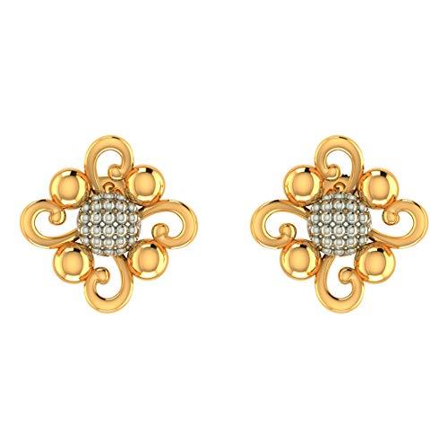 Zeya 18k (750) Yellow Gold Granulated Jewel Stud Stud Earrings for Women