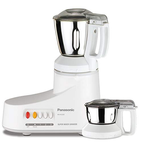 Panasonic AC MX-AC220-H 550-Watt Super Mixer Grinder with 2 Jars (White)