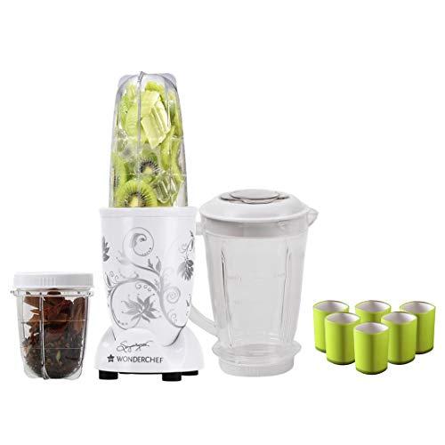 Wonderchef Nutri-Blend Mixer Grinder 400W 3 Jars (White) with Free Serving Glass Set