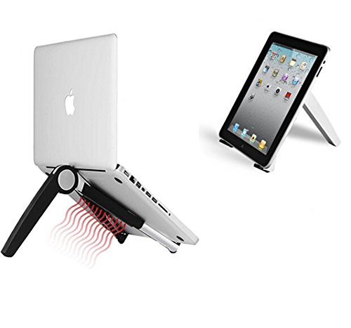 Store2508™ Foldable & Height Adjustable Aluminium & ABS Stand for Laptops MacBook ipad and Other Tablets (White)