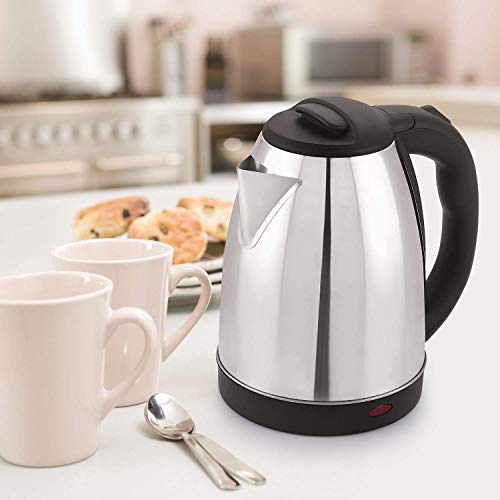 ATOZ STOCK 2.0 L 1500W Automatic Stainless Steel Cordless Easy to Use European Model Mode Water Kettle (Silver and Black, 203x165x230 mm)