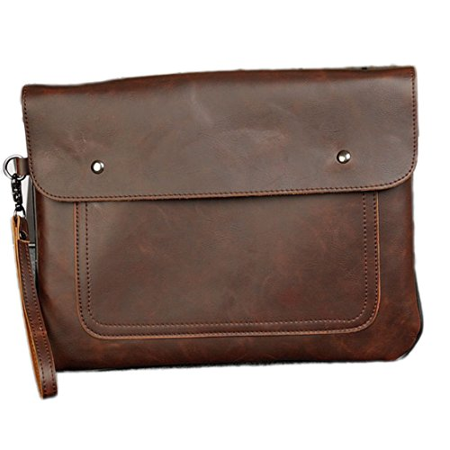 NUBEN Men's Messenger Bag Business Fashion Envelope Clutch Ipad Synthesis Cowhide 1 M US Brown