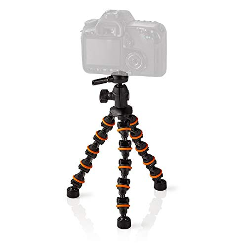 Nedis Travel Mini Tripod with Flexible Legs | Max 1 Kg |26 cm (Black/Orange)