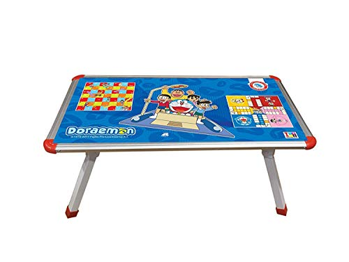 NAKSH Doraemon Theme 2 in 1 Multipurpose Foldable Bed Study Table Cum Laptop with Board Game Ludo Snake and Ladder for Kids