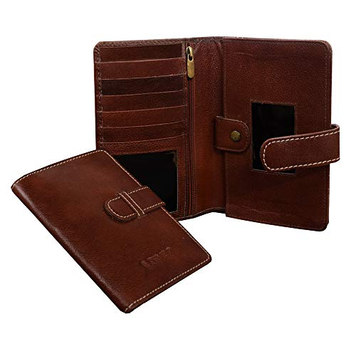 ABYS Genuine Leather Bombay Brown Unisex Travel Wallet||Passport Holder||Mobile Holder||Money Clip||Pocket Accessories||Card Cases||Credit Card Cases with Loop Closure(3 Passports)