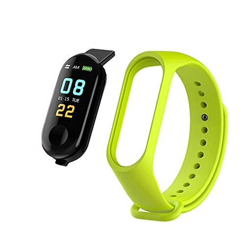 MAKECELL M3 Bluetooth SmartBand with Activity Tracker Compatible with All Mobile Phones for Boys and Girls - (Green)