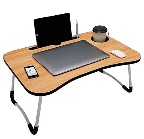 ROLLER Wheels Wooden Foldable Laptop Table, Study Table/Dock Stand with Foldable Metal Legs with Mobile Dock Stand (L 60 cm H 28 cm W 40 cm)