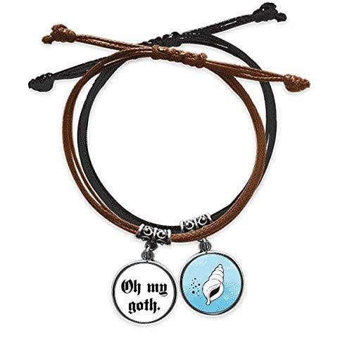 offbbExclamation Gothic Alphabet Bracelet Rope Hand Chain Leather Conch Wristband