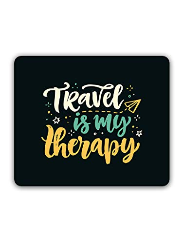 Madanyu Designer Mousepad Non-Slip Rubber Base for Gamers - HD Print - Travel is My Therapy Quote