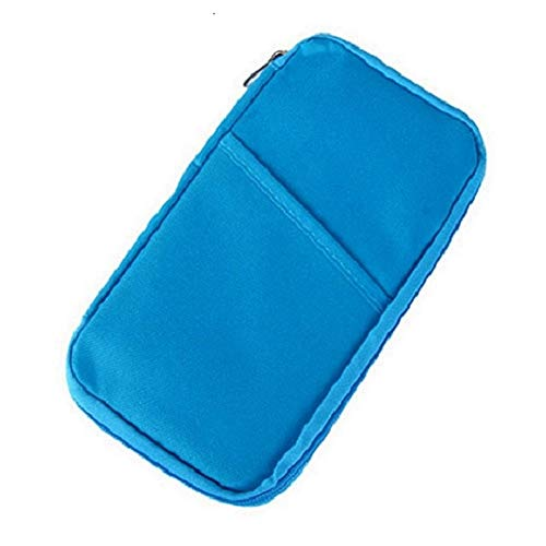 VALAMJI Multi-Functional Travel Passport Mobile Credit Card Pouch Holder for Men and Women (Blue)