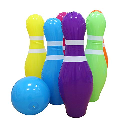 Anself Inflatable Bowling Set Inflatable Bowling Game Kids Bowling Set Parent-Child Game with 10 Inches Ball & 6 Pins 25 Inches Tall
