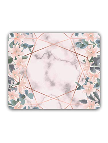 Madanyu Designer Mousepad Non-Slip Rubber Base for Gamers - HD Print - Marble Floral Pattern So Girly