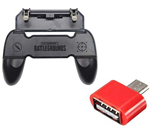 Gamepad W10 Handle Grip Wireless Controller Joystick for PubG with Metal Buttons Trigger Key for All Smart Phone Gaming with Portable Mini OTG Adapter for Data Transfer by Suckey