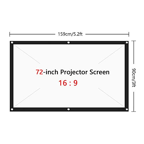 Tooarts 120 inch Projection Screen Portable Foldable Projection Screen 16:9 Polyester Projector Screen for Home Office KTV