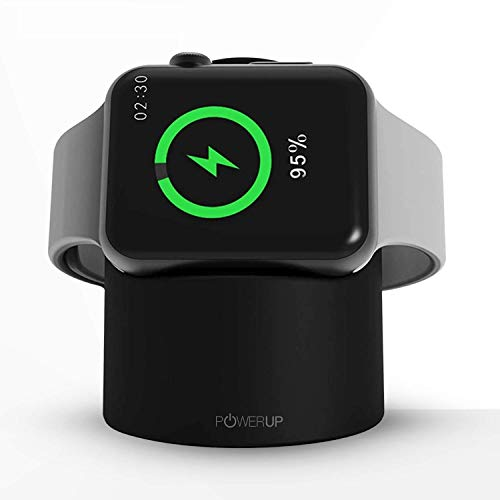 Powerup Stay Charged® Dock Stand Designed for Apple Watch Series 1; Series 2; Series 3; with Fast Wireless Charger & Compact Magnetic Charging Module Compatible with iWatch 38-44 mm (Black)