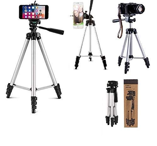 ZURU BUNCH® 3110 Tripod Stand Adjustable Aluminium Alloy Tripod Stand Holder for Mobile Phones & Camera with Mobile Clip Holder Bracket, Fully Flexible Mount with 3 Dimensional Head