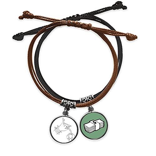 Bestchong DIYthinkerCustoms Hand Flower Simple Pattern Bracelet Rope Hand Chain Leather Money Wristband