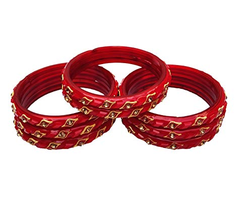 MeetWell jewellery's glossy glass kada set (Red, 2.6)