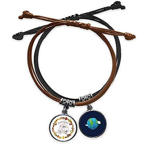 Bestchong DIYthinker Thanksgiving Day Garland Pattern Bracelet Rope Hand Chain Leather Earth Wristband