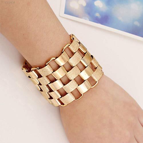 ELECTROPRIME 49BB Fahsion Unique Unisex Gold Punk Hollow Wide Chain Bangle Bracelet