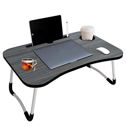 fovty Foldable Laptop Desk Table, Studyble/Dock Stand with Foldable Metal Legs with Mobile Dock Stand (L 60 cm, H 28 cm, W 40 cm) (Wooden) (Black)