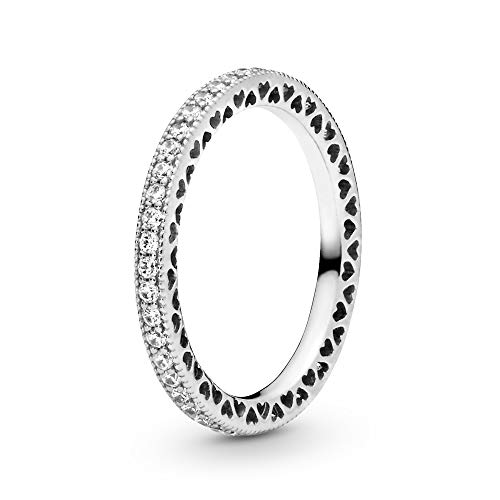 Pandora Jewelry - Sparkle and Hearts Ring for Women in Sterling Silver with Clear Cubic Zirconia, Size 4.5 US / 48 Euro