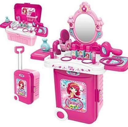 Shree Gopal Enterprise Dressing Play Set 3 in 1 Girls Makeup Toy Hair Dryer Jewelry Accessories for Kids Girls