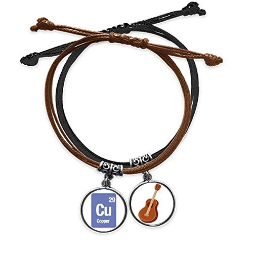 DIYthinkerCu Copper Chemical Element Science Bracelet Rope Hand Chain Leather Guitar Wristband
