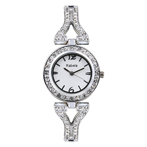 Rabela Analog White dial Sliver with Stone Chain Women's Watch RABEFL