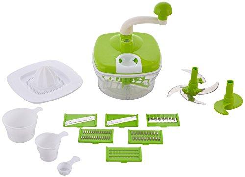 ROXA 10 in 1 Plastic Manual Food Processor/Dough Maker/Atta Maker/Vegetable Cutter/Slicer/Grater/Cutter