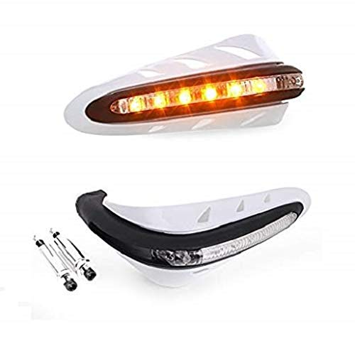 """PA Motorcycle Handguards with Led Light for 7/8"""" Grips - 300 * 140 * 110mm (White) for Bajaj Pulsar 150"""