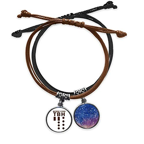offbbMorse Code Honestly Expressed Point Line Bracelet Rope Hand Chain Leather Starry Sky Wristband