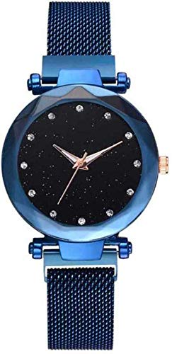 Praizy Times Magnetic Buckle & Black Dial with Diamonds Analogue Watch for Women and Girls