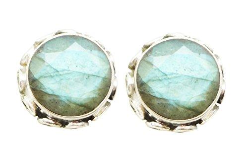 Shardajewels 925 Sterling Silver Handmade Earring SJE-182 Multi Labradorite Stud Earring For Girls and Women Jewellery