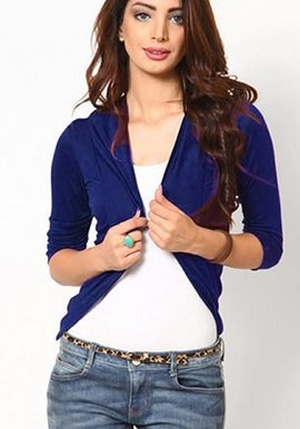 Snazzy Royal Blue 3/4 Sleeves Shrug