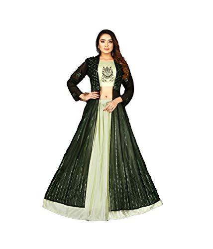 Fashion Alluring Green Chiffon Crop Top Skirt Set (XX-Large)