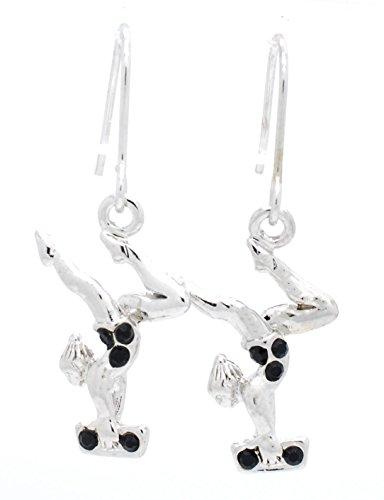 Violet Victoria & Fan Star Gymnast Earrings - Gymnastics Beam Earrings Dangle Black