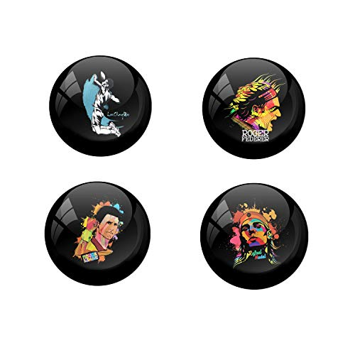 AVI Pin Badges Multi with Lee Chong Wei Badminton Player ,Roger Federer Tennis Player, Novak Djokovic Tennis Player & Rafael Nadal Tennis Player Combo Pack 6cm 4 pcs R8000228