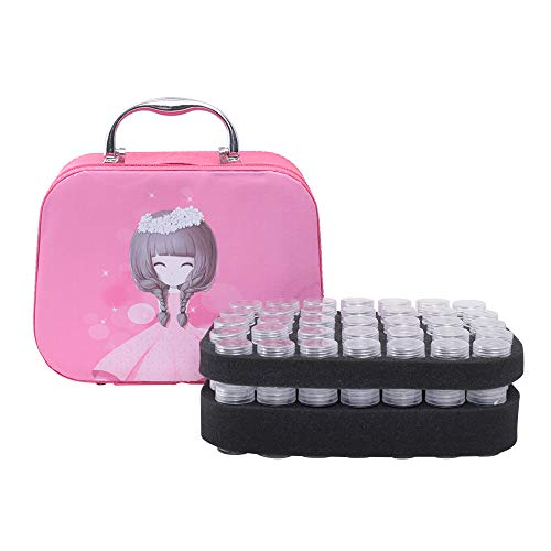 KKmoon-1 70 Slots Diamond Storage Box with Bottles Cartoon Princess Printing Portable Storage Carry Bag with Zipper for Painting Accessories Tool Nail Art Rhinestones