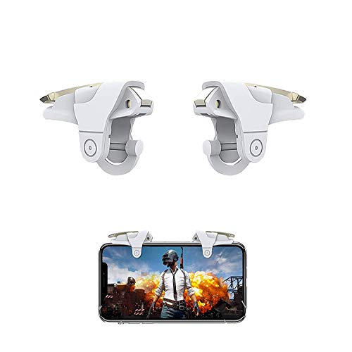 Rhymestore Pubg-III Mobile Pubg Trigger- Controller Battle Royale Sensitive Shoot and Aim LT016BLG-Supports for All Android and iOS Phones-1 Pair (White_Angel)