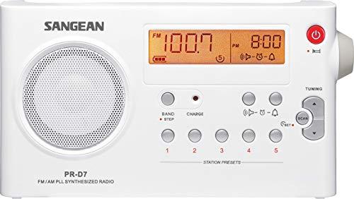 Sangean America Sangean PR-D7 AM/FM Digital Rechargeable Portable Radio - White
