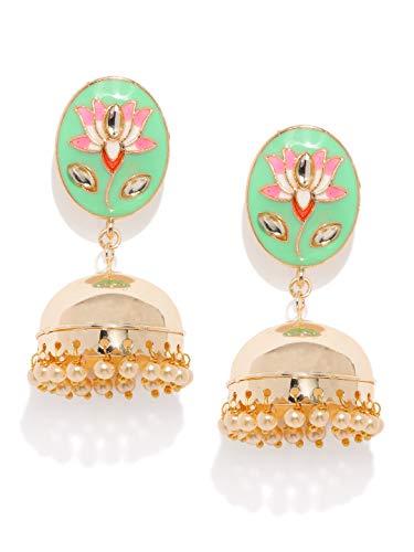 Zaveri Pearls Gold Plated Enamelling Jhumki Earring For Women-ZPFK9141