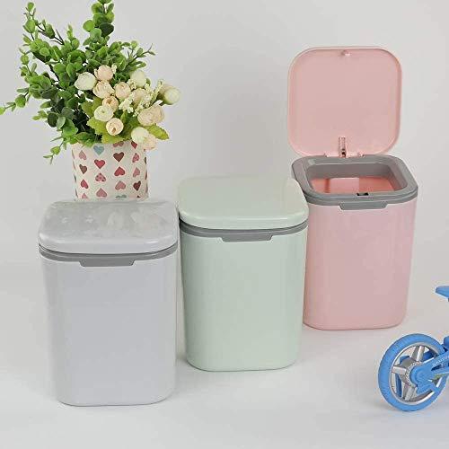 Jukkre Mini Table Rocking Cover Plastic Trash Can Dustbin Sundries Car Garbage Can Desktop Trash Dust Bathroom