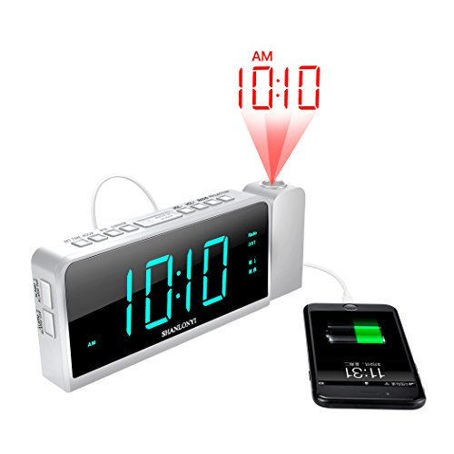 """SHANLONYI Projection Alarm Clock Radio with AM/FM, Time Projector,USB Charging for Mobile Phone, Large 7"""" LED Display, Dual Alarm, Battery Backup"""