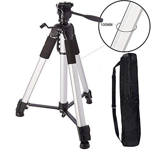 "MAKECELL Black/Silver Heavy Duty Photo Video Tripod Stand and Quick Release Plate for All DSLR SLR Cameras + Microfiber Cloth (72"" OR 6 Feet Height)"