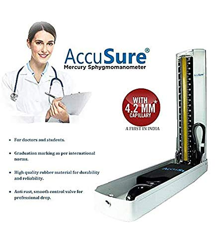 AccuSure Hg Professional Sphygmomanometer with Upper Arm Cuff Blood Pressure Monitoring Machine (4.2 mm)