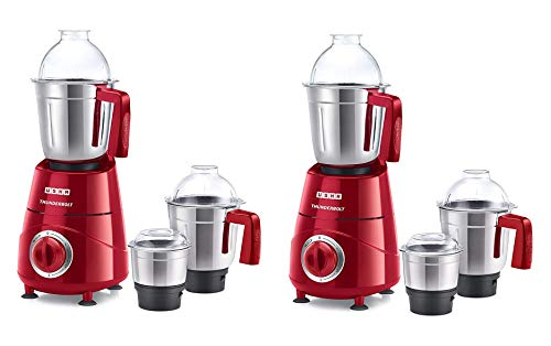 Usha Thunderbolt Mixer Grinder 800-Watt 3 Jars with Copper Motor(Red) Pack of 2