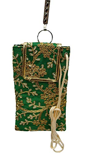 STYLO G Women's Mobile Cover for big mobile phones with Purse Pocket and Sari Hook GREEN
